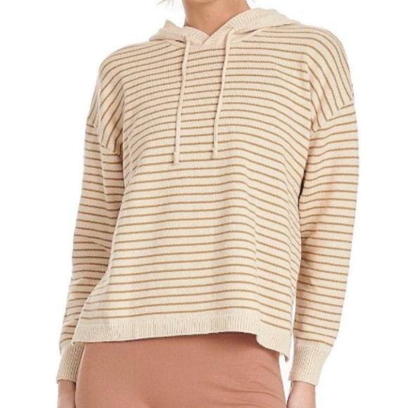 Onzie Sweaters - Onzie Striped Hoodie | Sand Tan Cream